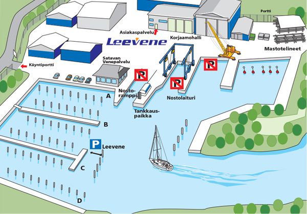 Leevene Turku Kartta Venekorjaamo Leevene